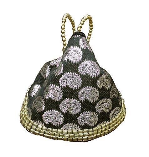 Chincaglieria Da donna borsa mano artigianale etnico India fatto a mano perline sposa borsetta