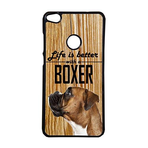 Boxer Coque Chien Life is Better téléphone portable étui huawei p8-p8lite- p9-p9lite-p10-p10plus communiquer le modèle après l'achat