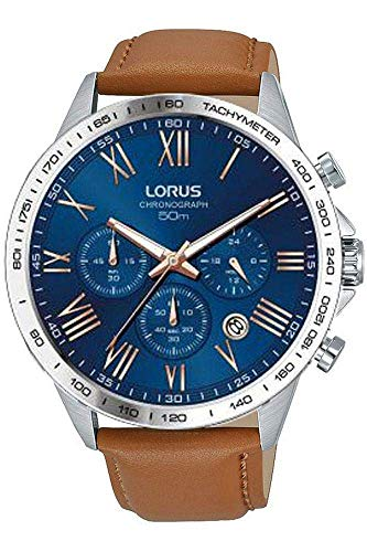 Lorus Mens Chronograph Quartz Watch with Leather Strap RT331GX9