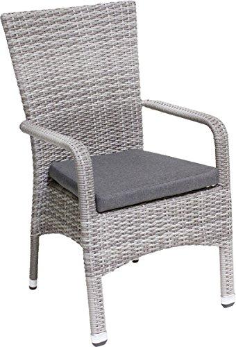 ALU/GEFLECHTSESSEL Sessel ,,Wyk' mit Kissen (100 % Polyester, 6 cm), uni grau, Gestell aus beschichtetem Aluminium Wyk M.kissen