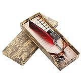 VABNEER Pluma de Plumas de Tinta metal pluma de caligrafía Pluma de Inmersión Para uso personal, regalo ejecutivo y decoración de escritorio antigua
