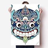 DIYthinker China Chinesischer Drache-Kopf Traditionelle Muster Vinylwand-Aufkleber-Plakat-Wand Tapete Raum Aufkleber 80X55Cm 80Cm X 55Cm Mehrfarbig