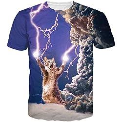 Bfustyle unisex relámpago gato impresión casual de las camisetas Tops