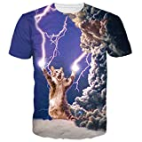 BFUSTYLE Unisex Lightning Cat Print Casual T Shirts Tops
