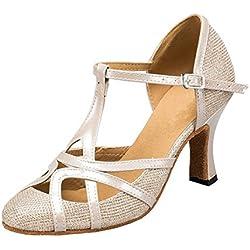 Minitoo QJ6133–Zapatos de bailes latinos para mujer, dedos cerrados, piel sintética, con purpurina, tacón alto, correa en T, color marrón, talla 40