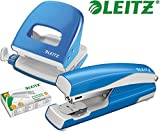 Leitz 5008 NeXXt Series Bürolocher, Metall, bis zu 30 Blatt / Kombi-Set mit Heftgerät + 1000 Klammern extra (hellblau)