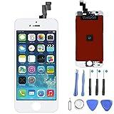 Display LCD per iPhone 5S/ SE Bianco, LCD Touchscreen Digitizer Frontale Completo Vetro Display Retina Riparazione Schermo di Ricambio per iPhone 5s Bianco (4.7) + Set di Attrezzi