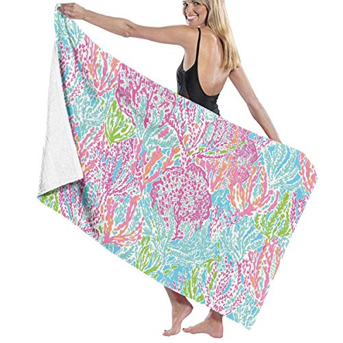 Lilly Pulitzer Prints Bath Towel Wrap Womens Spa Shower and Wrap Towels Swimming Bathrobe Cover Up for Ladies Girls - White (Lilly Pulitzer Haar)