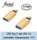 USB-C Adapter auf USB 3.0 aus Aluminium für Typ-C Geräte für Samsung Galaxy S8, Nintendo Switch, Konverter mit OTG für MacBook 2015, Macbook Pro 2016, ChromeBook Pixel, Google Pixel/XL, Nokia N1, Huawei P9, OnePlus 3, LG G5, Lumia 950, LeEco Le Pro 3 und mehr (gold)