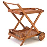 from Deutschbauer Wooden Serving Trolley with Removable Serving Tray - Garden Tea Trolley Model 4250525300598
