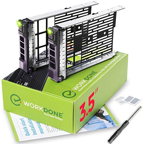 WorkDone 2er Pack - 3,5-Zoll Hard Drive Caddy Tray - Festplattenrahmen für 11-13. Generation Dell PowerEdge Server - Hot-Swap Träger SAS SATA HDD Adapterrahmen Gehäuseträger