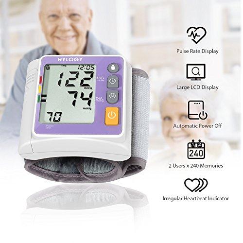 Hylogy Tensiómetro de Muñeca Presión Arterial Alta Precisión Monitor y Deteccion Arritmias  Pantalla Grande LCD y 2 * 120 Memorias
