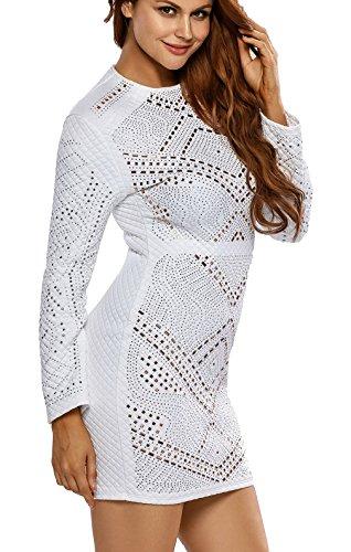 La vogue Langarm Kleider Bodycon Cocktaikleid Partykleid Abend Weiß