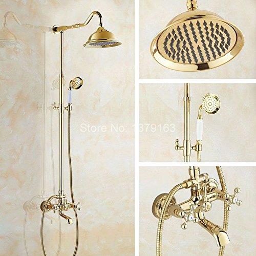 Wandmontage Badezimmer 8,2 Zoll Regendusche Wasserhahn Set Badewanne Wasserhahn Dual Cross Griffe agf610 ()