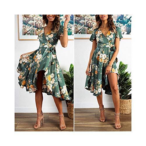 Satin Wrap Kleid (JYJLYQHK Eleganter Blumendruck Satin Frauen Kleid Wrap V-Ausschnitt Hohe Taille Kleider Fliege Grün Lässig Weiblich)