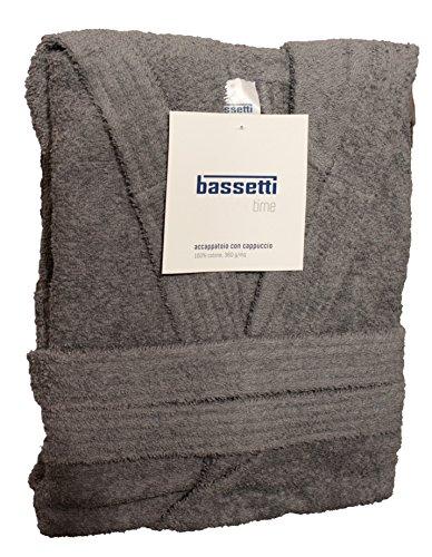 Accappatoio bassetti uomo donna con cappuccio taglia s - m - l - xl - xxl spugna di puro cotone 360gr/m² (xxl - 58 / 60, grigio - 1720)