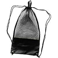 MagiDeal Bolsa de Malla con Cordones para Snorkeling Gafas de Buceo Aletas Máscara - Negro, 74x33cm