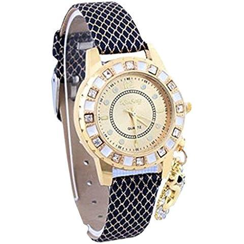 promiseu Fashion Girls donna orologio analogico da polso cinturino in pelle Faux Ciondolo in cristallo Blue