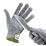 Yokamira Guanti Antitaglio, Guanti da lavoro, Guanti da giardinaggio, guanti da cucina resistenti al taglio, Protezione di Livello 5, Livello Alimentare, Certificato EN 388, 1 paio, Grigio(L)