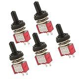 5 X Kleiner Ein/Aus MiniKippschalter + Wasserdichte Abdeckung Kippenschalter - Rot, 120