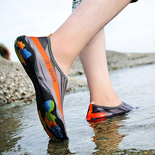 CUTUDE Unisex Badeschuhe Aquaschuhe Damen Herren Sommer Outdoor Quick-Dry Wasser Schuhe Skin Aqua Socken Surf Strand Yoga Wassersport Tauchen Schwimmenschuhe Schnorcheln (Grau, 43 EU-44 EU) -