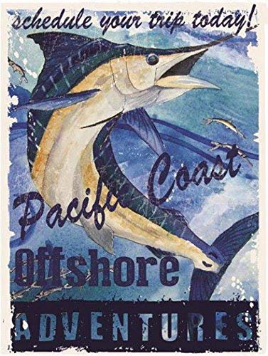 Harvesthouse Pacific Coast Offshore Adventures Metal Sign, Swordfish, Deep Ocean Fishing by - Pod Pacific