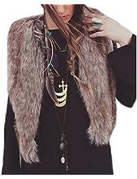 OverDose Escudo de la chaqueta sin mangas del chaleco de las mujeres prendas de vestir exteriores del chaleco de pelo largo