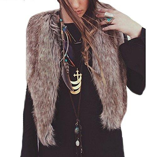 OverDose Escudo de la chaqueta sin mangas del chaleco de las mujeres prendas de vestir exteriores del chaleco de pelo largo (S, marrón)