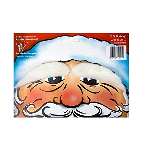 Krause & Sohn Augenbrauen weiß für Weihnachtsmann - Weiße Augenbrauen Kostüm