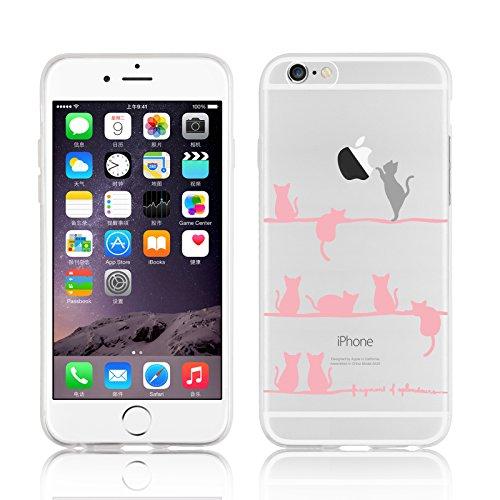 Cover iPhone 8 Plus Cover iPhone 7 Plus, JAMMYLIZARD [Sketch] Custodia in Silicone Trasparente Semi Morbido Ultra Slim con Disegno per Apple iPhone 8 Plus e Apple iPhone 7 Plus, CARTOON 7 GATTINI