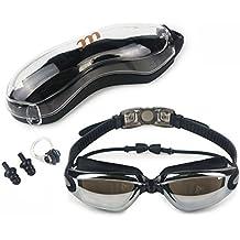 Gafas de natación, unisex profesional anti niebla No Fuga de la protección UV gafas de natación para hombres mujeres y niños 10 +, ajustable y cómodo equipo con funda protectora, nariz Clip y tapones para los oídos