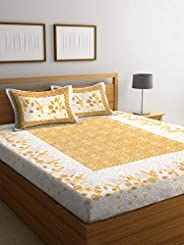 Boutique Bedding Queen Size 100 Cotton 220TC Bedsheet with 2 Pillow Covers (Musturd, 235x225 cm)