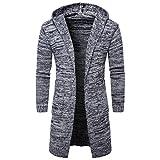 Herren Hoodie Strickjacke Cardigan Mantel Jacke Slim Fit Lange Schwarz Grau (XS, Grau)