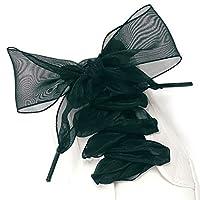 Gemini_mall Shoelaces, Lace Ribbon Shoe Laces Flat Satin Ribbon Shoelaces for Women Girls Kids Sneakers, 110cm Long 4cm Wide