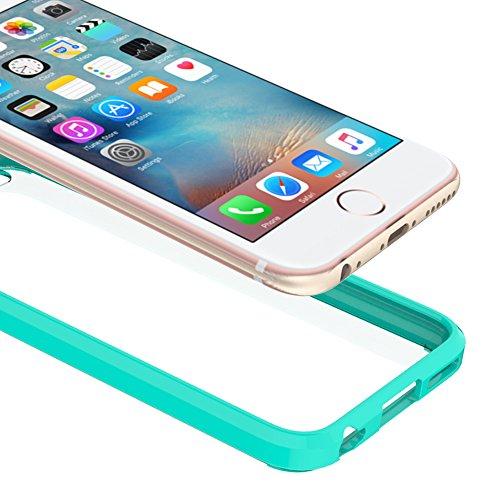 FoneExpert® iPhone 6 6s - Ultra Air Hybrid Etui Housse Coque La face arrière Claire Avec Bumper en TPU Case Cover pour iPhone 6 6s (Noir) Menthe