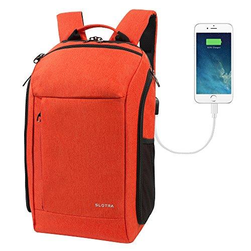 SLOTRA Zaino con USB Impermeabile Resistente da Fotocamera PC Laptop Backpack per Portatile 15,6 Zaini da Viaggio trekking 30L Grande Comodo (Arancione)