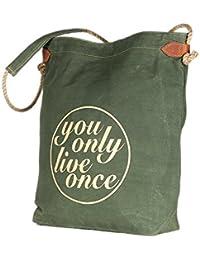 Green Color Jute Strip Canvas Tote Shoulder Bag Stylish Shopping Casual Bag Foldaway Travel Bag