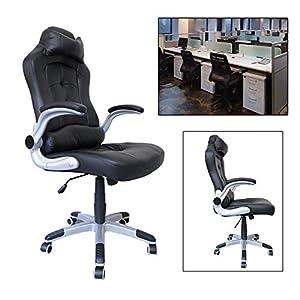 5197r5HgjKL. SS300  - HG-silla-giratoria-de-oficina-silla-de-juego-confort-superior-reposabrazos-tapizados-silla-de-carreras-capacidad-de-carga-200-kg-altura-ajustable-negro