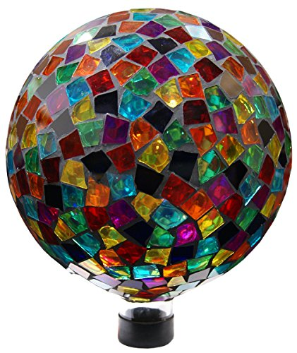 Plutus Brands 10 Inch Mosaic Gazing Ball - Red/Blue/Yellow