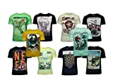 #2: Devil Pack of 10 Assorted Prints Casual Multicoloured Round NeckT-Shirt