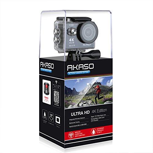 AKASO Action Cam 4K WiFi Action Kamera 170°Ultra Weitwinkel Full HD mit 12MP Unterwasserkamera mit 2.4G Fernbedienung mit 2 Batterien 19 Zubehör Kits-Schwarz(Hersteller Repariert)
