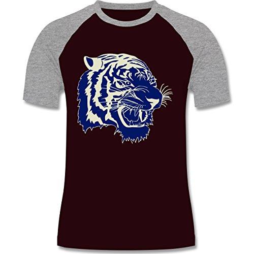 Wildnis - Tigerkopf - zweifarbiges Baseballshirt für Männer Burgundrot/Grau meliert