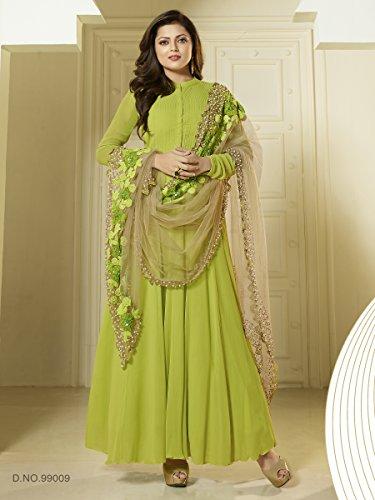 Fstore Classy Parrot Green Georgette Long Anarkali Salwar Suits