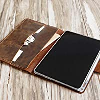Personalized 2018 ipad pro 12.9 case/iPad Pro 11 / Leather Portfolio Case with apple pencil holder - distressed brown - 601