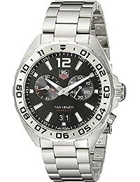amazon co uk tag heuer watches tag heuer men s 41mm steel bracelet case s sapphire swiss quartz black dial watch waz111a ba0875