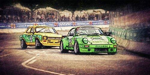 Kunst Bild Porsche 911 Ford Escort historischer Rennsport Tapete Mousepad BalsaHolz Aufkleber (100 x 50 cm, Tapete selbstklebend)