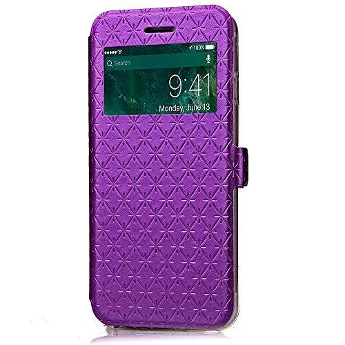 iPhone Case Cover PU-lederner Fenster-Kasten-Rasterfeld-Gitter-Muster-Schlag-Standplatz-Fall-Abdeckung mit Karten-Schlitz für iPhone7 ( Color : Black , Size : Iphone 7 ) Purple