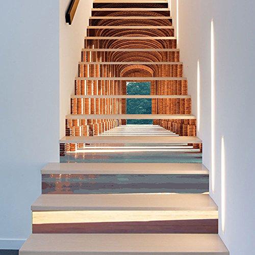 Stonges 13 Stücke Treppenaufkleber Abziehbilder 3D Kreative Gebäude Stair Risers Fliesen Tapeten Wandbild selbstklebende Vinyl Abnehmbare Art Treppe Decals für Stairway oder Home Decoration