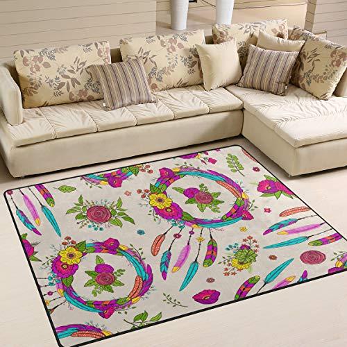 Tenboya Rug - Alfombra Antideslizante para salón o Dormitorio (120 x 160 cm), diseño de atrapasueños y Flores, Tela, 120x160cm (4' x 5'Feet)