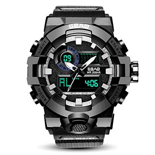 Uomo multifunzione militare digitale LED orologio elettronico impermeabile allarme quarzo Orologio sportivo-Batteria included-black